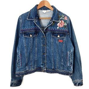 VINTAGE TIMING Oversized Embroidered Denim Jacket